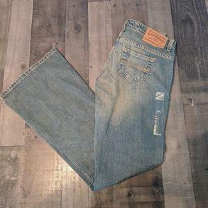 Express Distressed Flair leg jeans